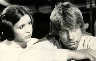 "Carrie Fisher (as Princess Lea) and Mark Hamill (as Luke Skywalker) starred in the first ""Star Wars"" film in 1977. The two remain friends."
