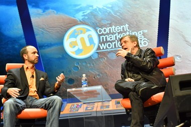 "Mark Hamill, right, speaks with CMWorld founder and host Joe Pulizzi about the enduring popularity of Star Wars. ""All around the world, everybody's your best friend,"" he said."
