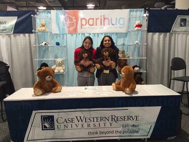 Xyla Foxlin and Harshita Gupta at their booth at CES in Las Vegas last year. CWRU had 10 booths at the world's largest technology convention in Las Vegas in January.