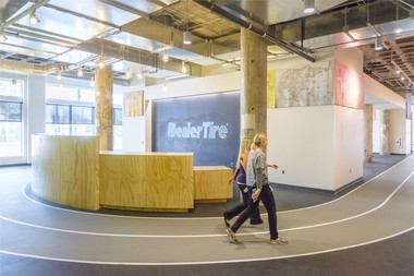 At Dealer Tire's new headquarters, the company included a walking track for employees in the design.