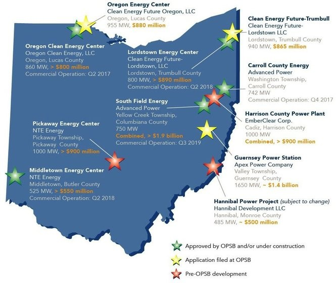 Independent developers are either building, planning to build or seeking permits from the Ohio Power Siting Board to build 11 large gas turbine power plants in the state, representing an estimated total investment of nearly $9 billion.