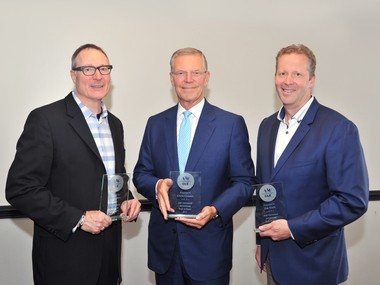 From left, Tony Weber, Chris Connor, and Jim Nash, three trailblazers in Cleveland's advertising, marketing, and communications industry, were inducted into the American Advertising Federation Cleveland's Hall of Fame on June 28.