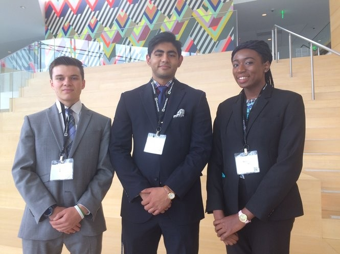Josef Scheidt, left, Rohan Sinha and Nsisong Udosen, all students at Case Western Reserve University, were surprised to win the Cleveland Medical Hackathon because they were one of the youngest teams.