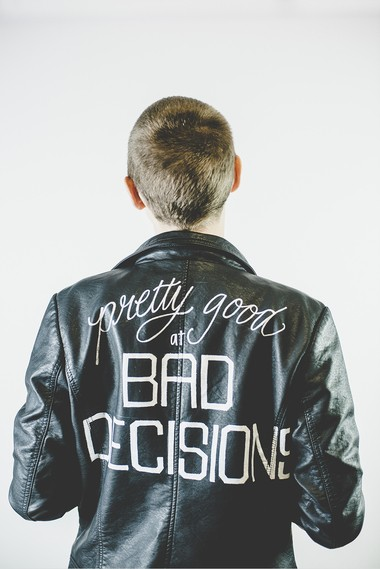 Hardy recently started lettering on the backs of jackets. A business that began with postcards has grown into hand-adorned records, pennants, maps and other odds and ends.