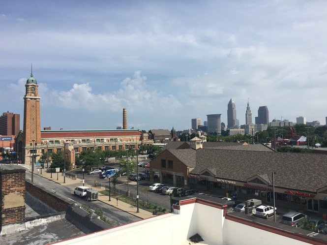 The Market Plaza shopping center, at right, and the West Side Market are visible from the roof of the Cleveland Hostel across the street.