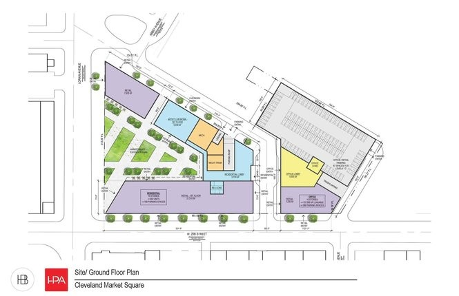 A first-floor site plan shows the proposed layout of Harbor Bay's project, which will include offices, apartments, retail and parking.