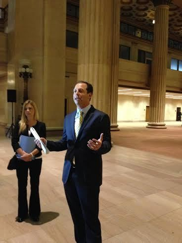 """Andrew """"Avi"""" Greenbaum of Hudson Holdings on Tuesday explained his plans for the historic Huntington Building, which has been largely vacant for three years. On the left is Jennifer Hebrock, Hudson's director of special projects, who introduced Greenbaum to the building."""