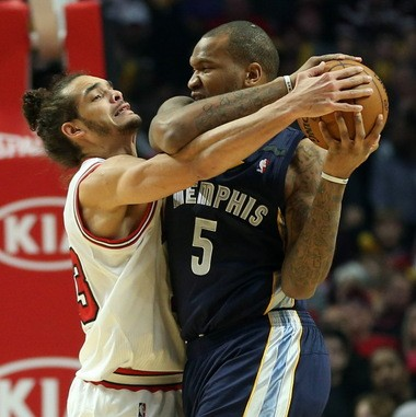 Grizzlies big man Marresse Speights, shown trying to protect the ball from Chicago's Joakim Noah, would join the Cavaliers if a deal is finalized today that would send Cavs forward Jon Leuer to Memphis.