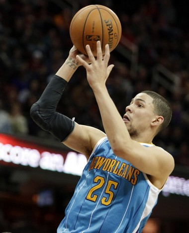 New Orleans rookie Austin Rivers missed Sunday night's game against the Cavaliers with a broken hand.