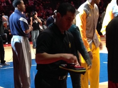 Mancias handles LeBron's personal kit, which holds lip balm James applies before every game.