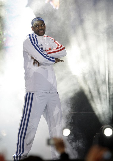 LeBron James is introduced at the 2010 NBA All-Star Game at Cowboys Stadium.