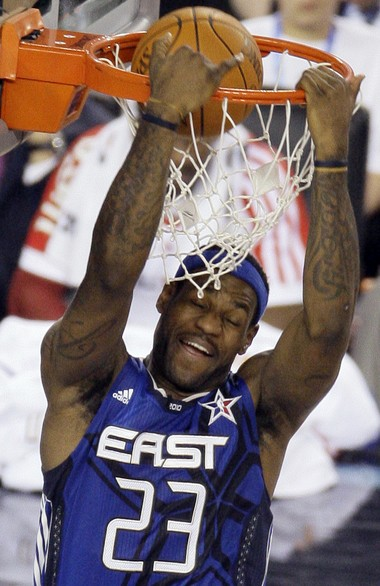 LeBron James dunks during the 2010 NBA All-Star Game.