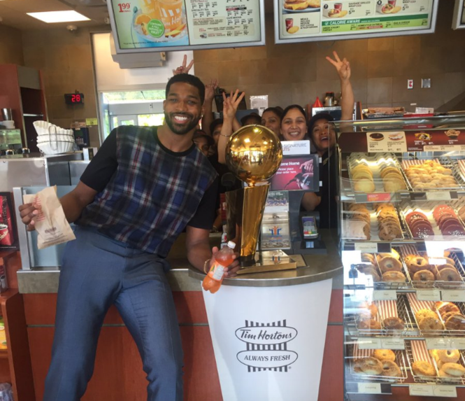Tristan Thompson brings Larry O'Brien trophy to -- where else -- a Tim Horton's while on his Canadian tour.