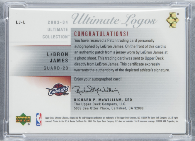 The backside of the LeBron James 2003 logoman Upper Deck rookie card.