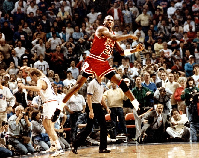 Michael Jordan reacts after hitting the game winning basket over Cleveland's Craig Ehlo in Game 5 of the NBA playoffs May 7, 1989.