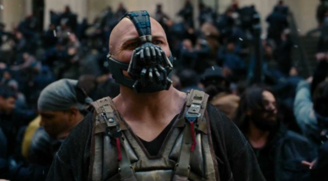 """Bane, the villain from """"Dark Knight Rises,"""" has an unmistakable look that sort of resembled Smith's on Tuesday."""