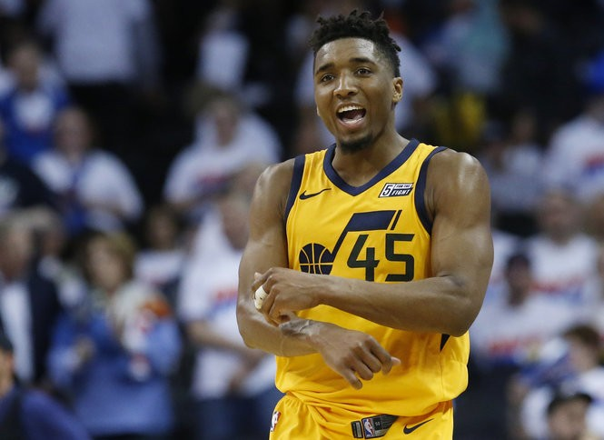 8a688dbd431 Utah guard Donovan Mitchell celebrates after the Jazz defeated the Thunder  on Wednesday night in Oklahoma City. (Sue Ogrocki, Associated Press)