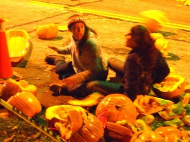 Pumpkins, teens and sleds collide at the 2013 pumpkin roll.