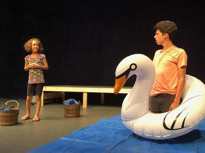 "Francesca Koonce and Maximilian Tucker perform Marie Kanzinger's play ""Azalea and the Swan."""