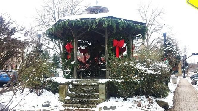 The Chagrin Falls bandstand is decorated and ready for Christmas.