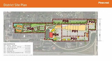 This site plan shows how the proposed Pinecrest development might fit into the East Side village of Orange, just off Interstate 271. Chagrin Boulevard is at the far left and Harvard Road is at the far right.