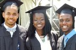 Friends Akil Evans, Peace Aminu, and Evan Ingram graduated high school and college together.  Courtesy of Angela Ingram