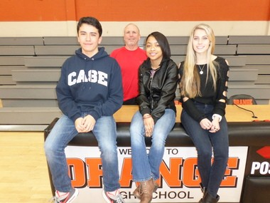 Seated, from left, are Orange High School students Santiago Bustamante, Janetta Edwards and Leah Hester, who testified before the state senate against proposed HB 113. In the back is their physical education teacher John Sangdahl.