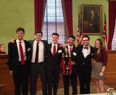 Orange High School students Tom Middleton, left, Nathan Pflaum, Tyler Nelson, Neil Agarwal, Simon Wieder and Jennifer Goodman won the state mock trial championship.