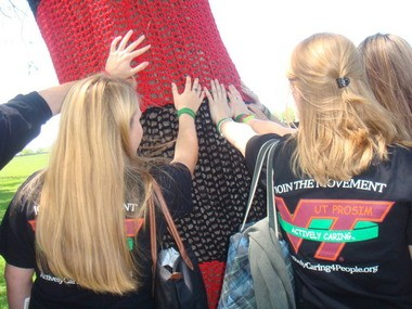 Students from Virginia Tech show their support for Chardon High School during a trip here last year, months after a shooting rampage that killed three students and struck three other students in the high school's cafeteria. The Virginia Tech students were part of a group, Actively Caring For People, that has made several trips to the district to work with students on creating a positive environment in schools.