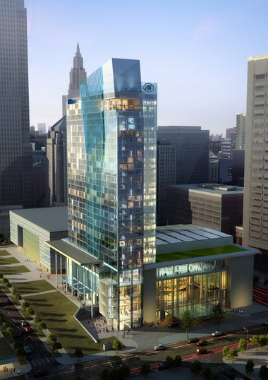 An architects rendering of the planned Convention Center hotel.