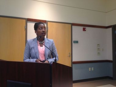 Cleveland Heights City Manager Tanisha Briley answered questions during a telephone town hall meeting.