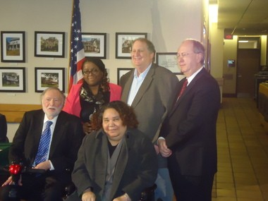 Cleveland Heights' new Mayor Cheryl Stephens poses with some of her predecessors -- from left, Dennis Wilcox, Stephens, Barbara Boyd, Ed Kelley and Alan Rapoport.