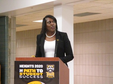 CH-UH Schools Superintendent Talisa Dixon delivers her state-of-the-schools address earlier this year at the Wiley School building in University Heights.