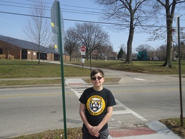 Roxboro Middle School sixth grader Michael Siemen was instrumental in getting this crosswalk installed at his alma mater, Boulevard Elementary in Cleveland Heights.