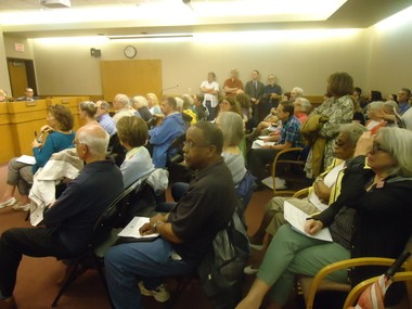 Roughly 100 people turned out for the June 19 Cleveland Heights City Council meeting to discuss the potential sale of the Coventry School property.