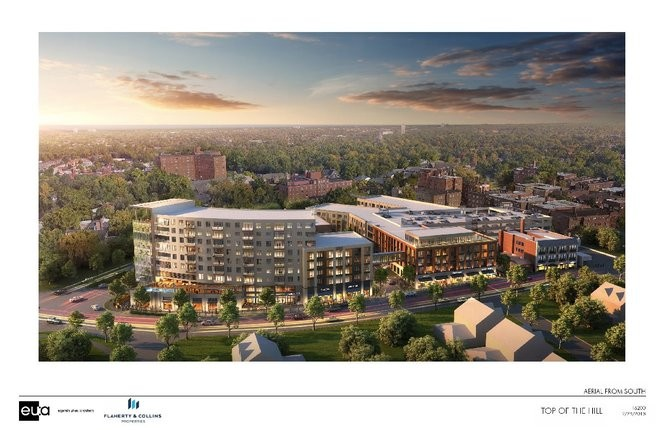 This is a rendering of what the Top of the Hill development project might look like. (Photo Courtesy of Flaherty & Collins/Eppstein Uhen Architects)