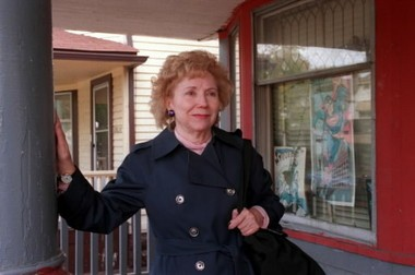 Joanne Siegel, widow of Superman co-creator Jerry Siegel and the model for Lois Lane, visits the house where her husband created Superman.