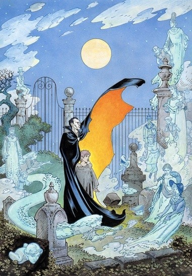 """P. Craig Russell's amazing cover to Neil Gaiman's """"The Graveyard Book,"""" to be released a year from now."""