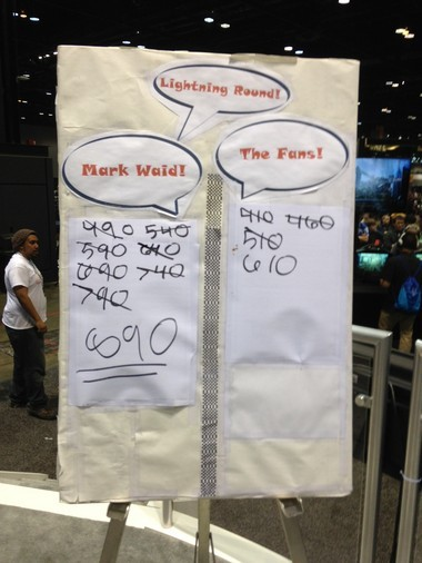 The bottom line says it all: Mark Waid defeated the five fans at the C2E2 Comic Convention trivia contest.
