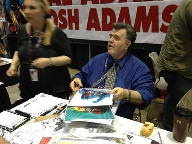Comic artist superstar Neal Adams signs autographs for fans (at $20 a pop). He said his next work for DC Comics is the Superman series and a New Gods series.