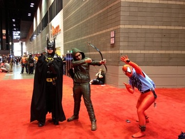 C2E2 in Chicago was crawling with supercharacters. Batman, Green Arrow and the Scarlet Spider, pose for a quick shot.