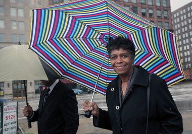 Former Cleveland Councilwoman Sabra Pierce Scott exits the federal courthouse last year following a hearing.
