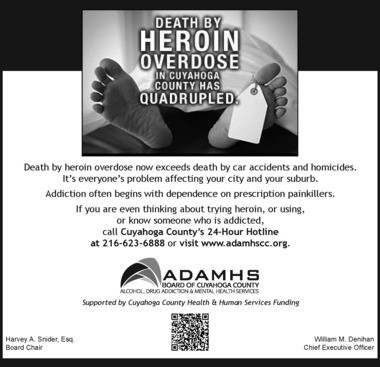 Cuyahoga County Board of Alcohol Addiction and Mental Health Services Board's heroin awareness campaign advertisement.