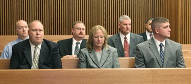 The six Cleveland police officers charged in the November 12, 2012 chase and fatal shooting of Timothy Russell and Malissa Williams appear in court for their arraignment two weeks ago.