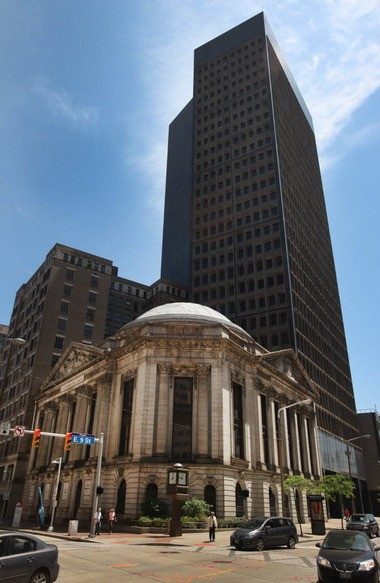 The former Ameritrust building on the corner of E. 9th and Euclid Avenue is at the center of a lawsuit involving corruption in Cuyahoga County.