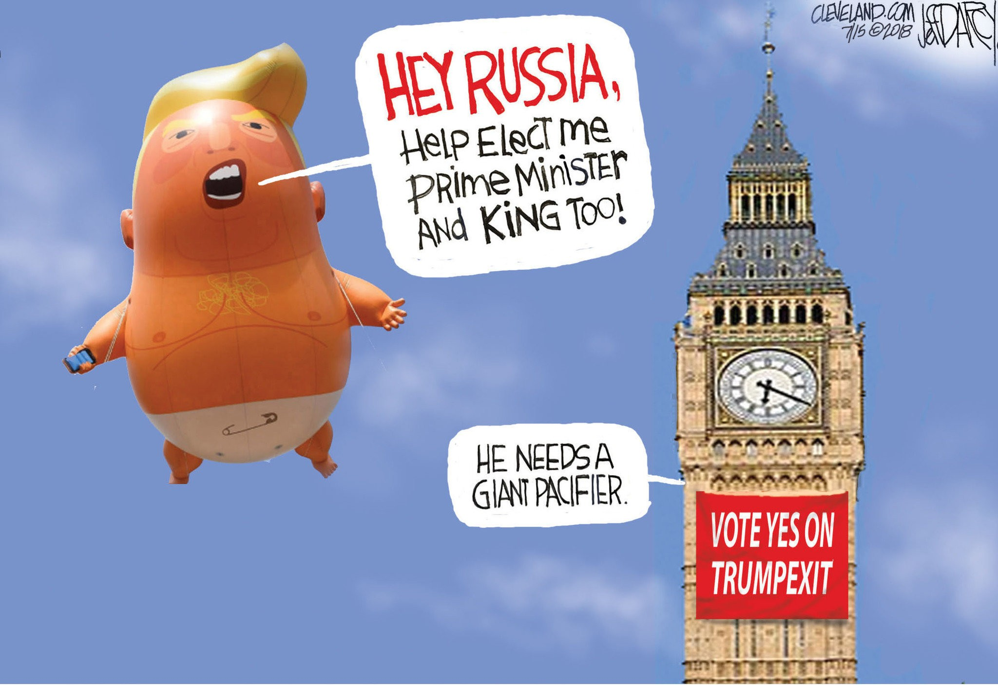 Big Baby Trump Meets Big Ben Darcy Cartoon Cleveland Com