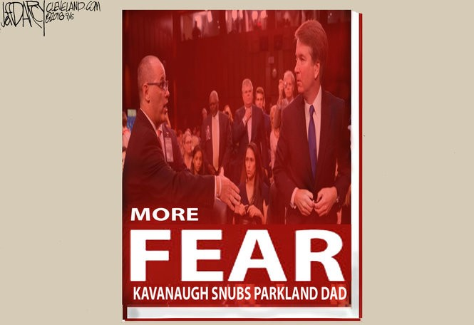 Why was Brett Kavanaugh afraid to shake the hand of Fred Guttenberg, whose daughter was killed in the Parkland, Fla. school shooting?