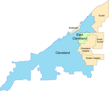 East Cleveland is bordered by Cleveland and Cleveland Heights.