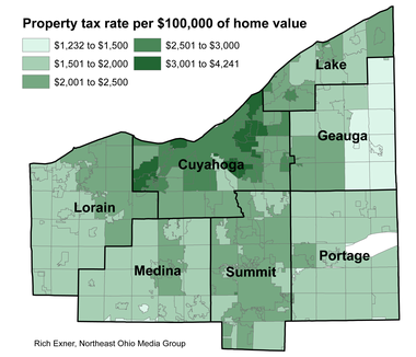 This map shows the range in property tax rates in Greater Cleveland from the low end in some townships to the high in Shaker Heights and Shaker Square. The rates are for 2014 residential taxes paid in 2015.