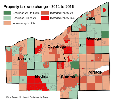 Homeowner property tax rates increased for most areas of Greater Cleveland for the 2014 tax bills being paid in 2015.